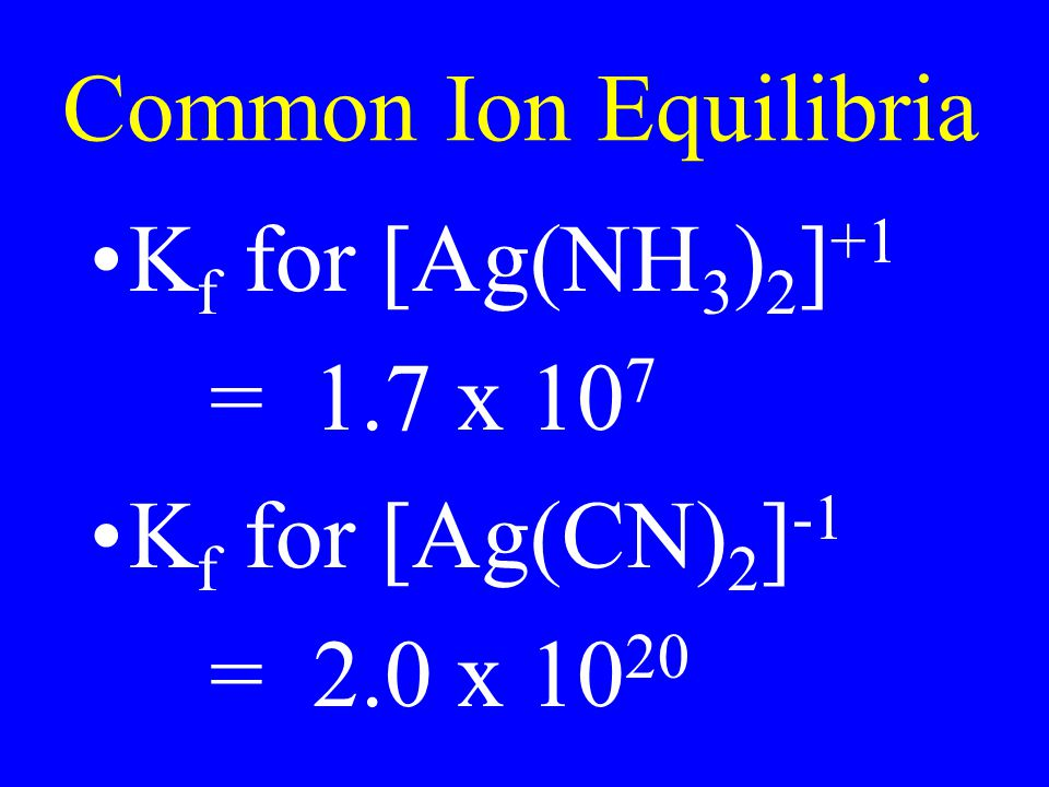 Common Ion Equilibria Kf for [Ag(NH3)2]+1 = 1.7 x 107 Kf for [Ag(CN)2]-1 = 2.0 x 1020